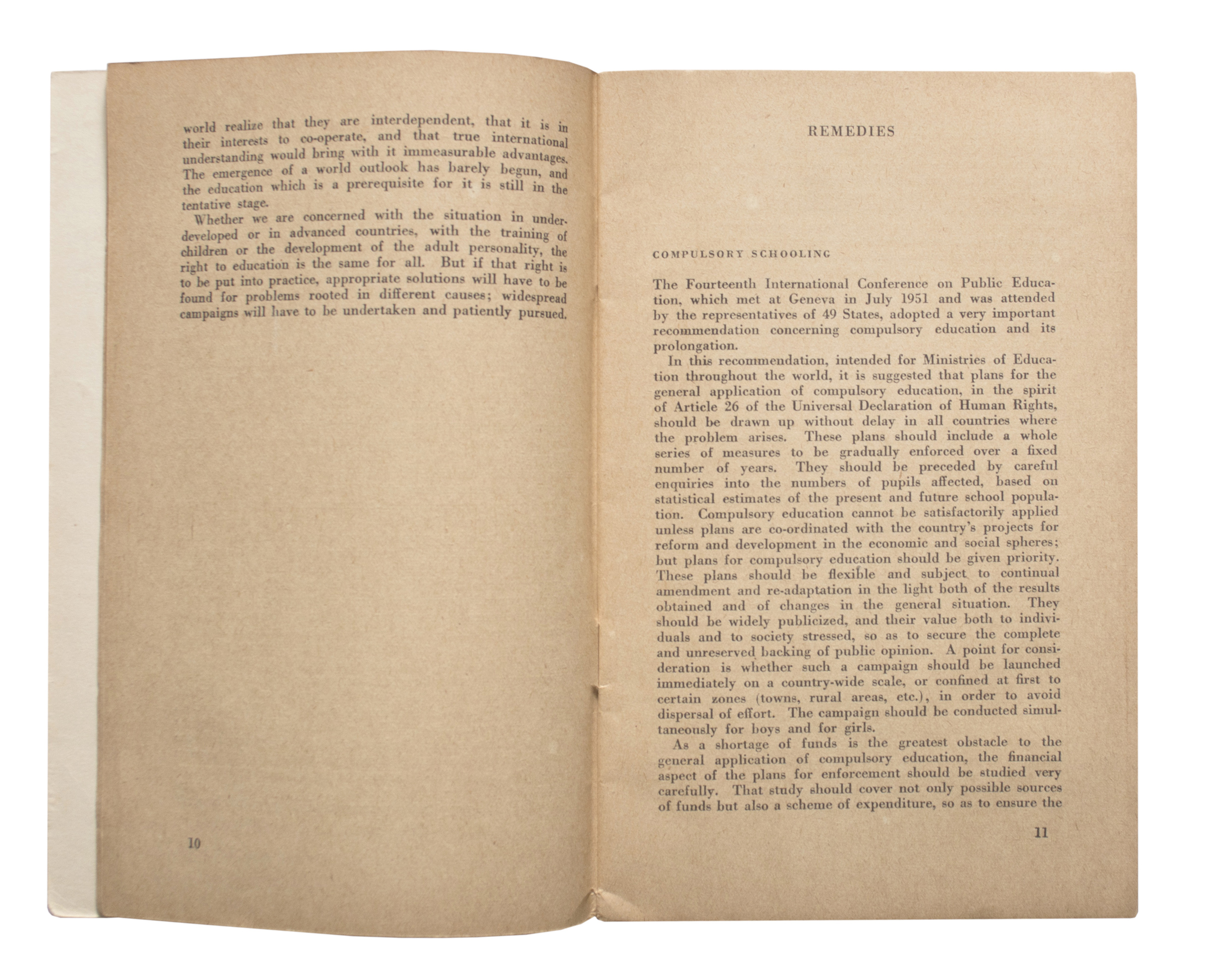 Right to Education Pamphlet Published by UNESCO in 1952