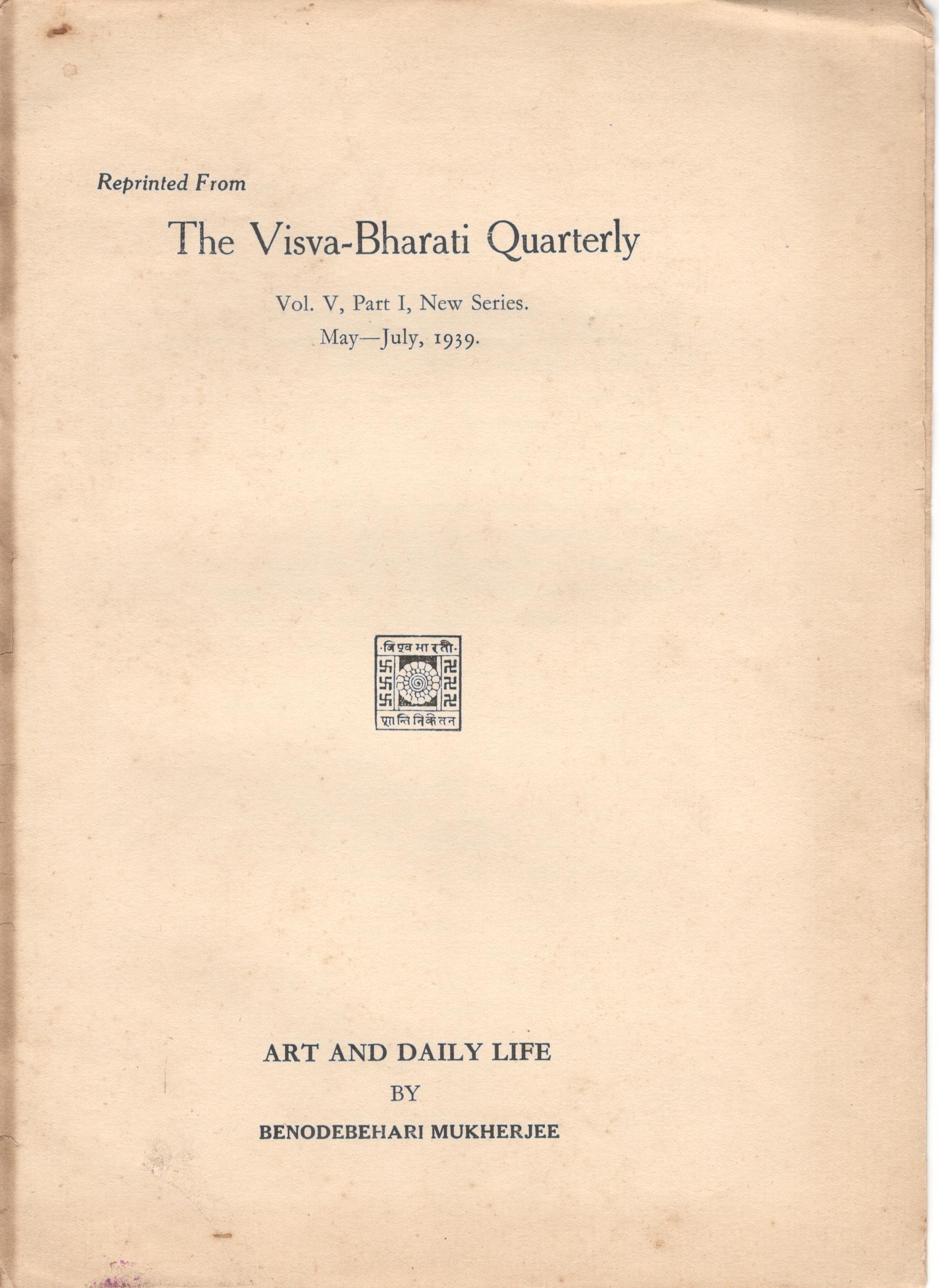 Visva-Bharti catalogue - Art and Daily Life by Benode Behari