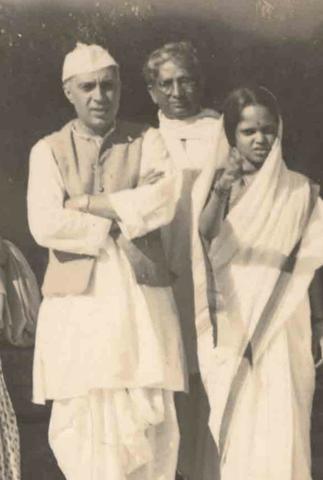 Pandit Nehru with Nandita Tagore (Kripalani) and a teacher in Santiniketan: 1934