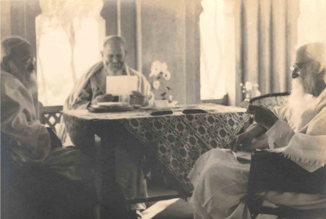 Rabindranath with CF Andrews and a guest in Uttarayan