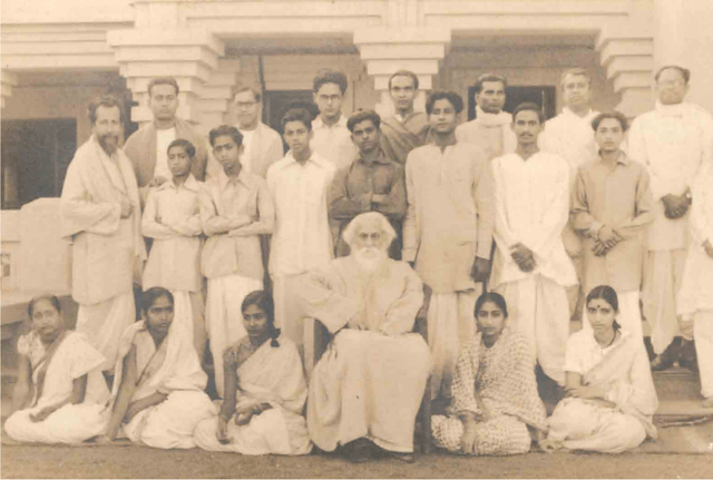 Rabindranath with teachers in Santiniketan: 1940