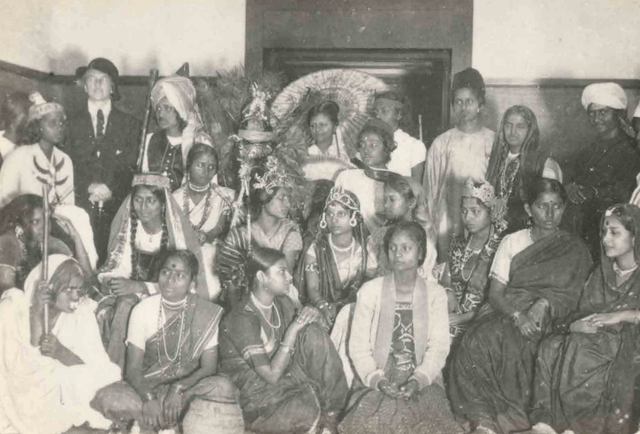 Students backstage after a play performed at Santiniketan's Singha Sadan