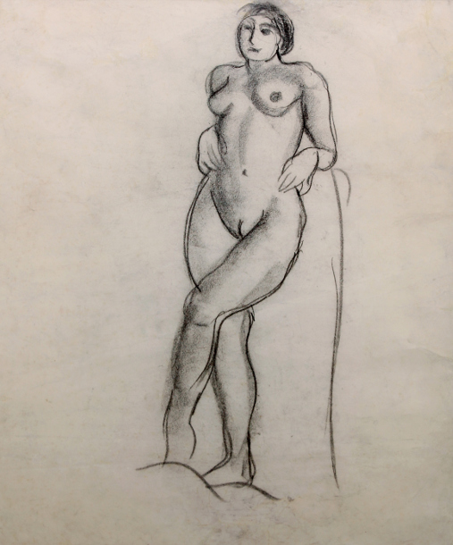 amrita sher-gil charcoal on paper pasted on paper