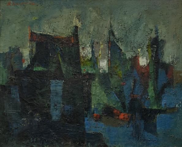 bimal dasgupta 1962 landscape oil on canvas