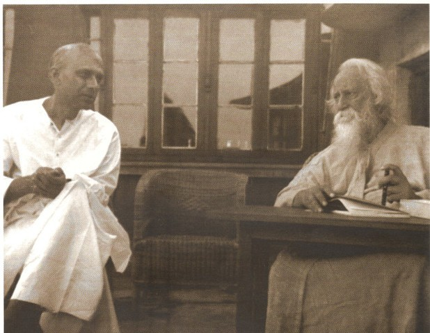 Rathindranath (left) With Rabindranath Tagore (right)
