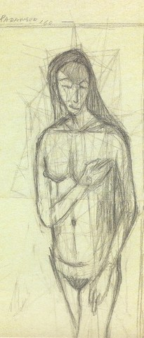 1960, Nude with Schema, graphite