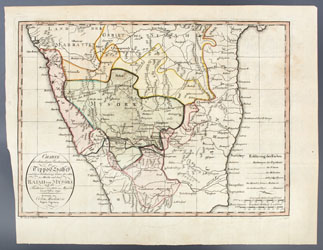 Map of the Lands of Tippo Saheb immediately following the 4th Anglo Mysore War