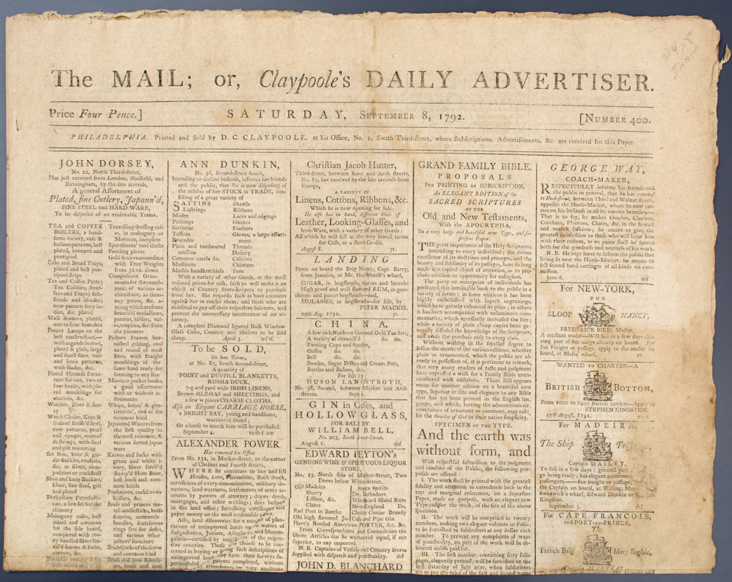 Newspaper, The Mail or Claypoole's Daily Advertiser