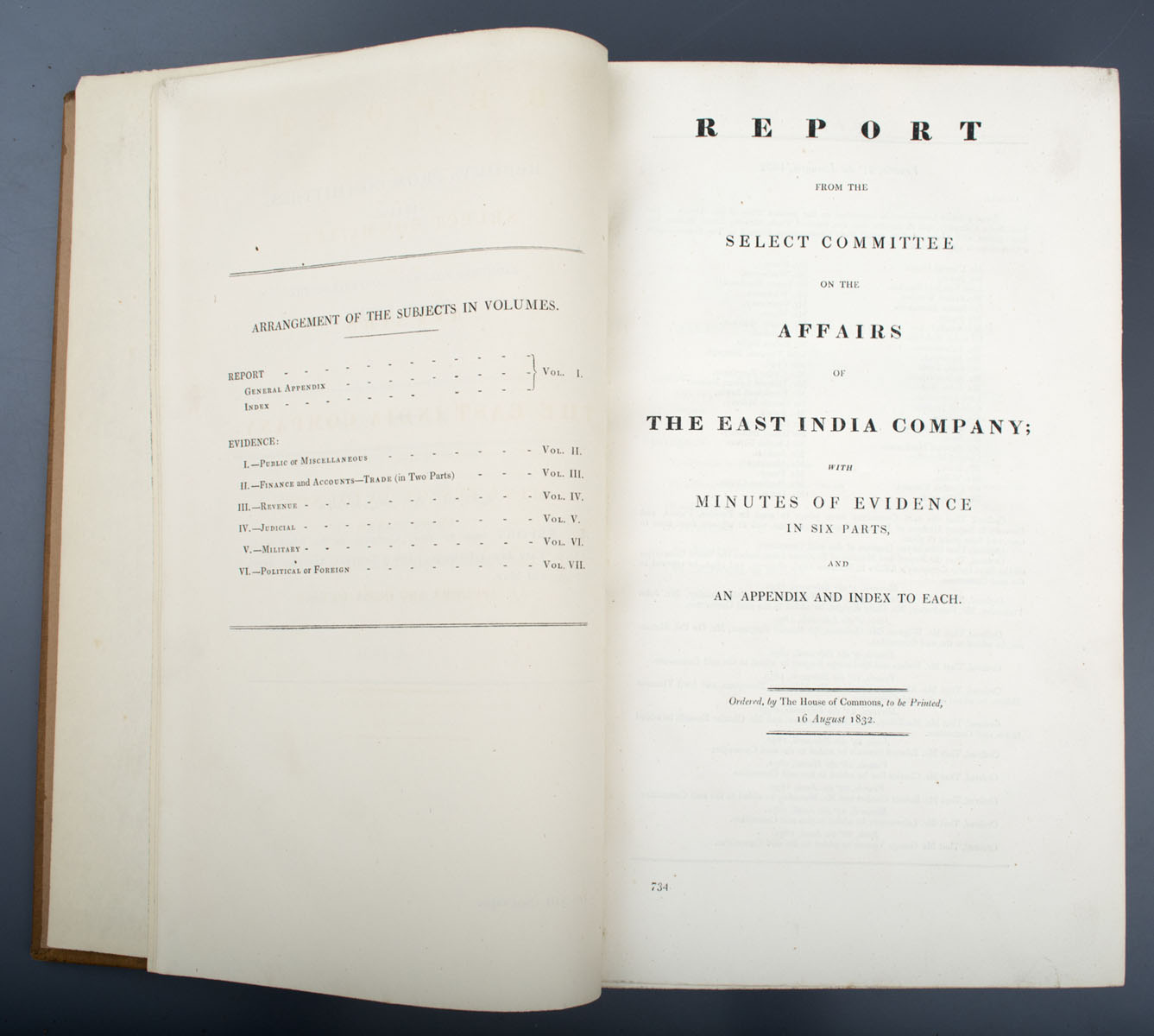 Reports from the Select Committee on the Affairs of The East India Company with Minutes of Evidence in Six Parts