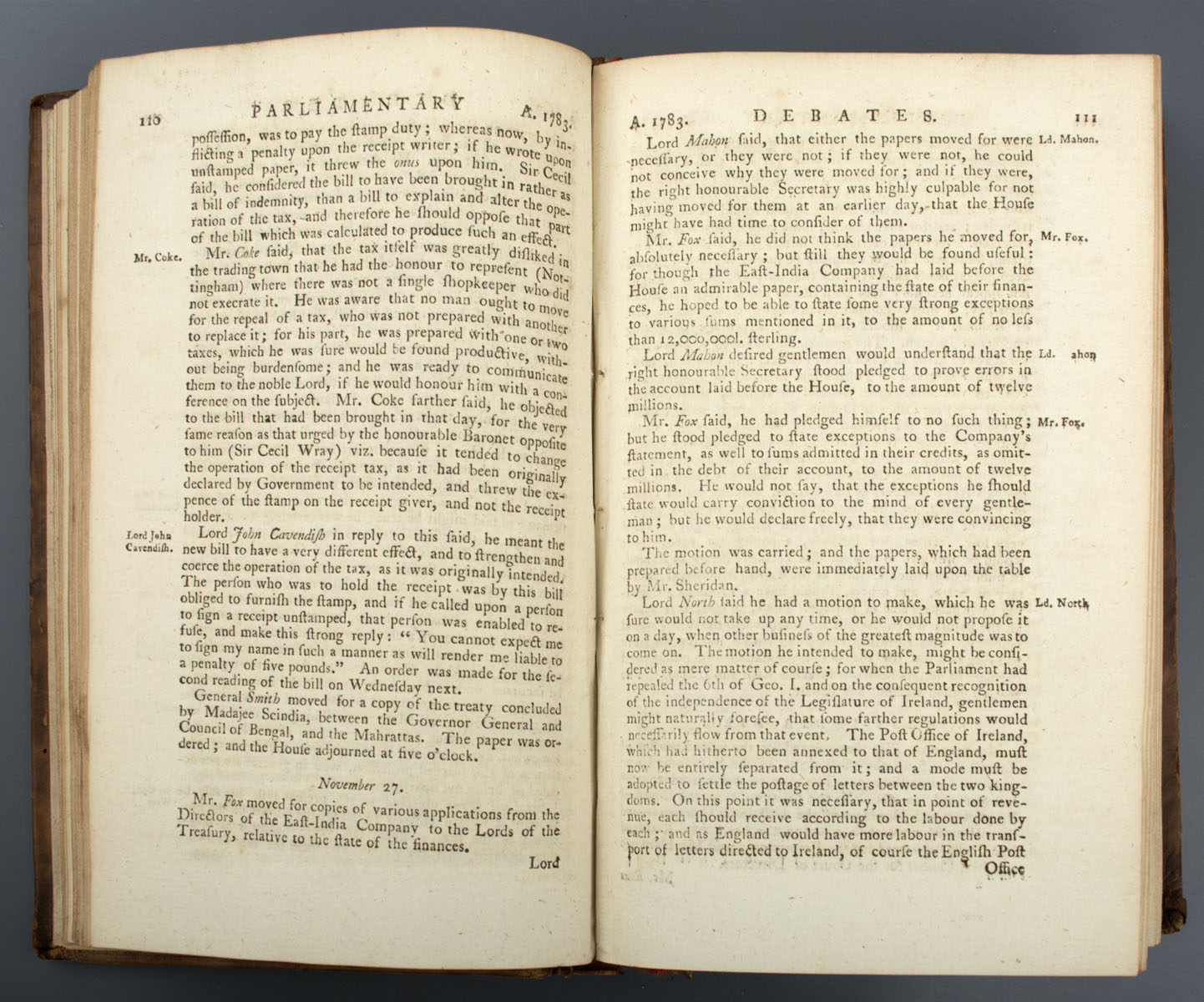 The Parliamentary Register; or history of the Proceedings and Debates of the House of Commons