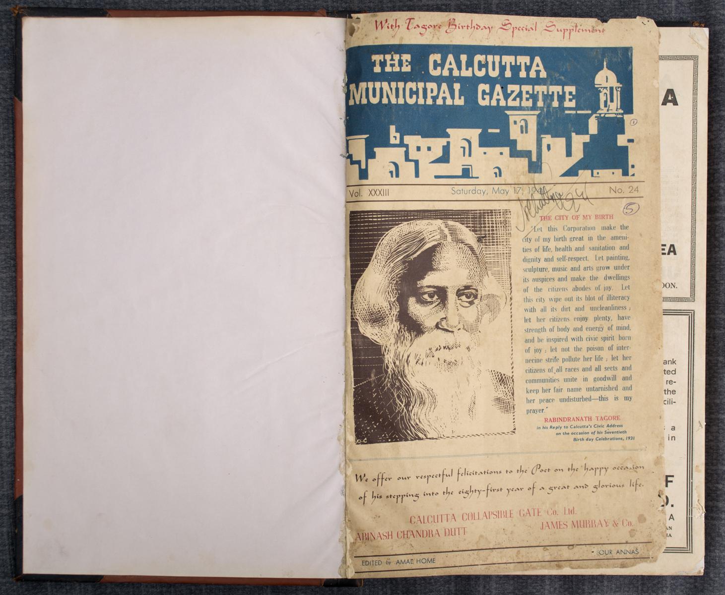 The Calcutta Municipal Gazette: Tagore Birthday Special Supplement