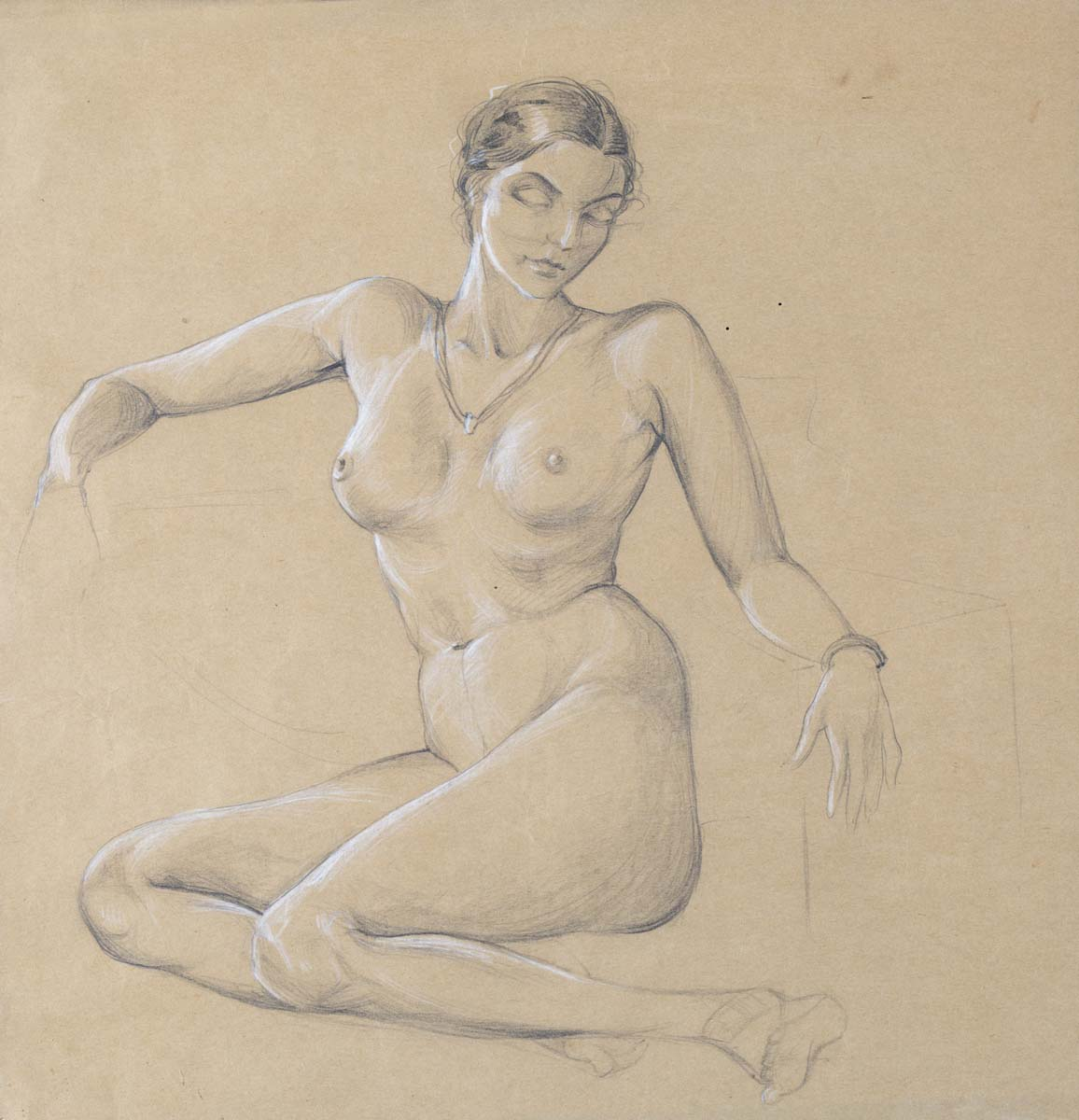 UNTITLED (Nude Study of woman sitting with White Accents)