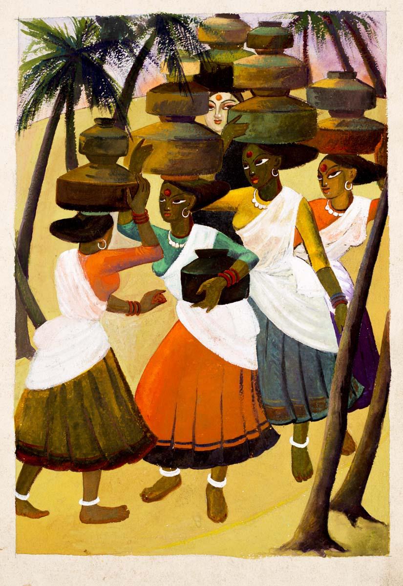 UNTITLED (Village women holding pots)