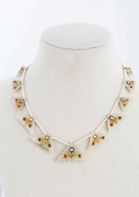 Uncut Gem-Set Jade Necklace