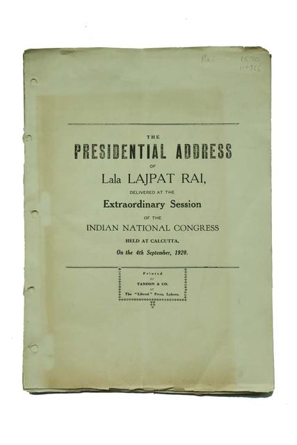 PRESIDENTIAL ADDRESS OF LALA LAJPAT RAI