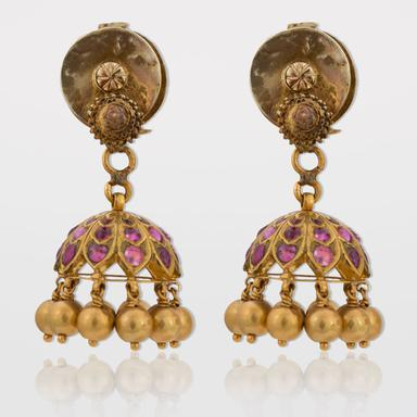Estate Ruby and Emerald South Indian Jhumka Earrings