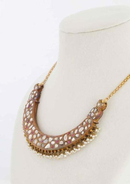 Diamonds, Ruby and Pearls Hasli Necklace