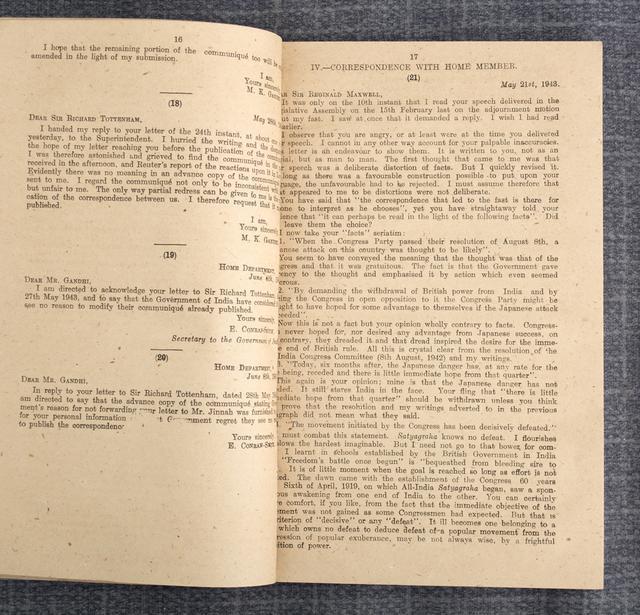 Correspondence with Mr. Gandhi: August 1942 - April 1944.