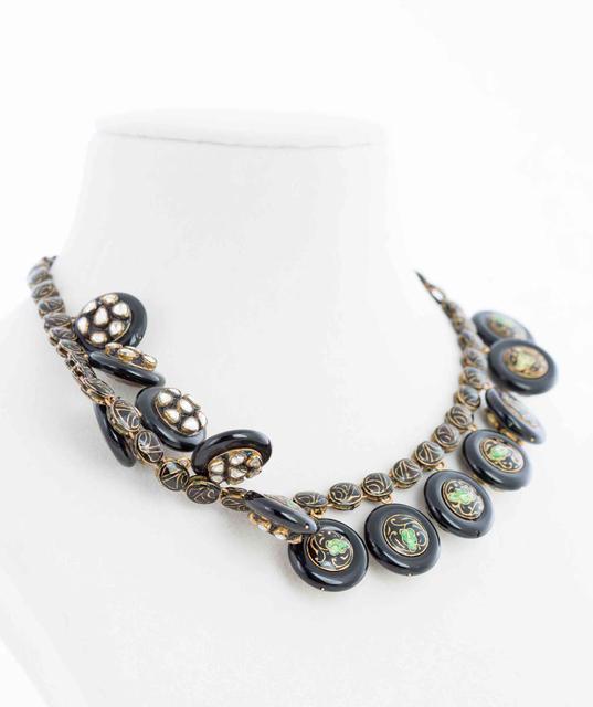 Contemporary Jadau Uncut Diamond And Enamel Necklace