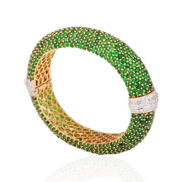 A Tsavorite and diamond bangle