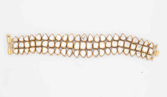 Estate Diamond And Enamel Jadau Bracelet