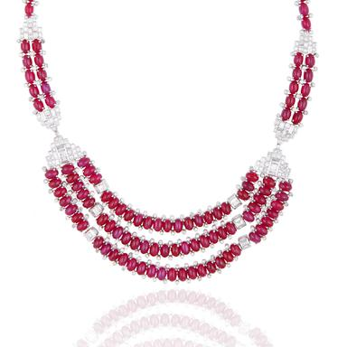 An attractive art deco inspired art deco cabochon ruby and diamond necklace
