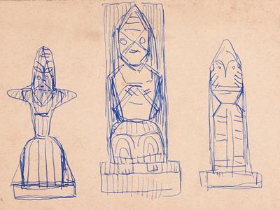 Jamini Roy's : Sculpture Sketch