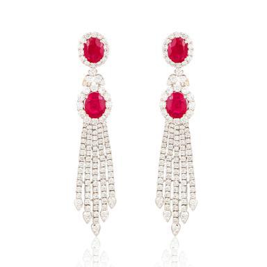 Elegant pair of Ruby and diamond tassel earrings