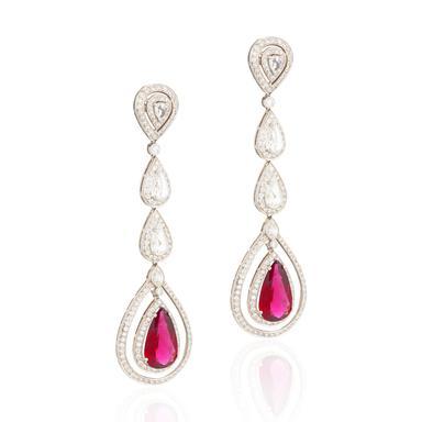 Pair of diamond and rubellite ear pendants