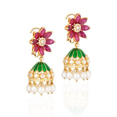 A pair of diamond and ruby jhumki earrings