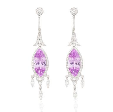 Art deco inspired pair of kunzite and diamond ear pendants