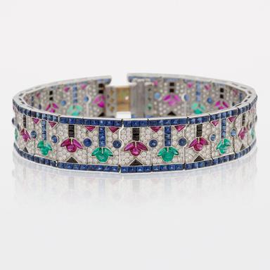 Estate Art Deco Multi-Gem and Diamond Bracelet
