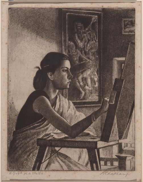 A girl in a studio
