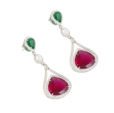 A simple yet elegant pair of rubellite, emerald and diamond ear pendants