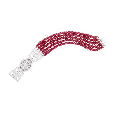 Diamond & Ruby Cab. Bracelet