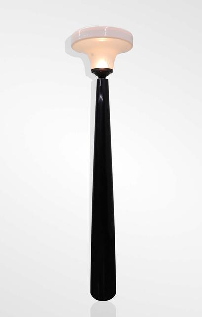 Rosewood lamp with milky white shade