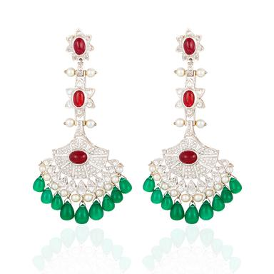 Pair of ruby cabochon, diamond and pearl fan ear pendants