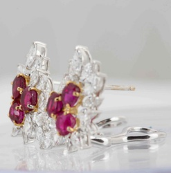 Floral Ruby And Diamond Earrings