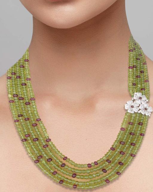 A Peridot bead, pink Tourmaline, Rubellite and diamond necklace