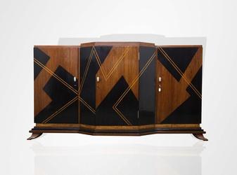 Teak cabinet with satinwood and ebony inlay