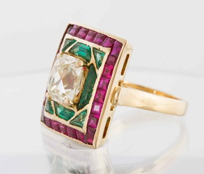Diamond, Ruby and Emerald Ring
