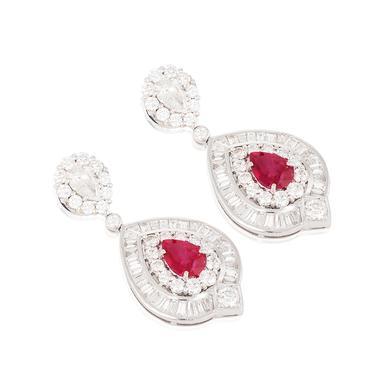 A superb pair of burmese ruby and diamond ear pendants.