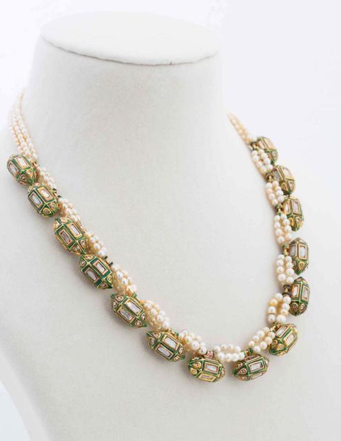 Estate Basra And Uncut Diamond Taveez Necklace