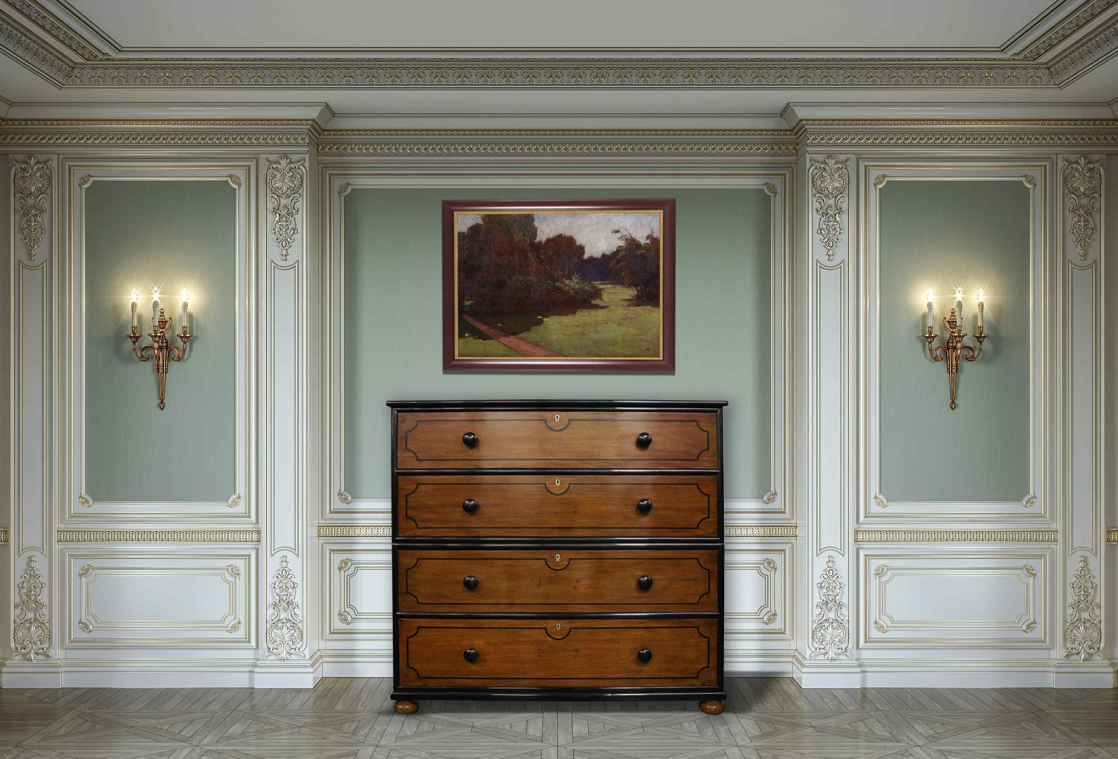 Satinwood chest of drawers with ebony inlay