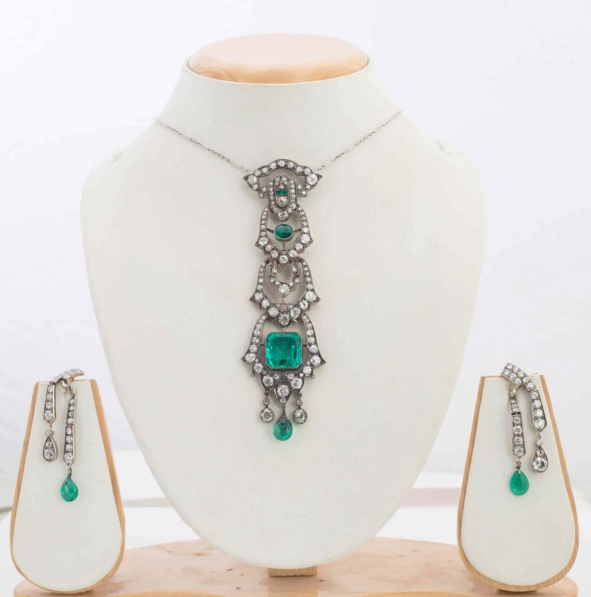Diamond and Emerald Necklace and Earrings