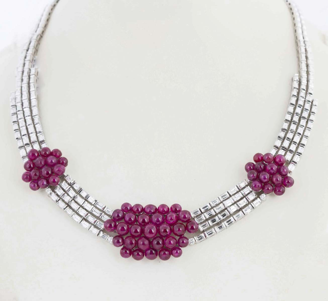 Ruby And Diamond Necklace And Earrings