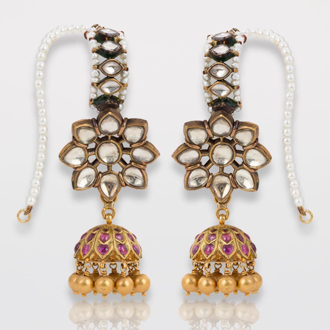 Estate White Sapphire, Ruby, Pearl Karan-Phool Earrings