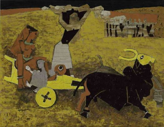 An art piece made by M.F. Husain in 1955