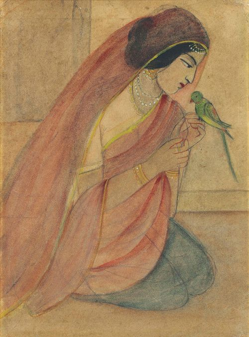 Sunayani Devi - Lady with a Parrot