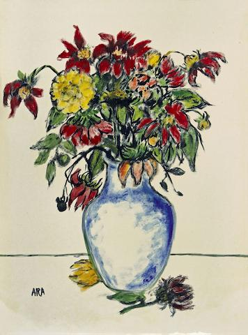 A still life flowers painting by K.H. Ara